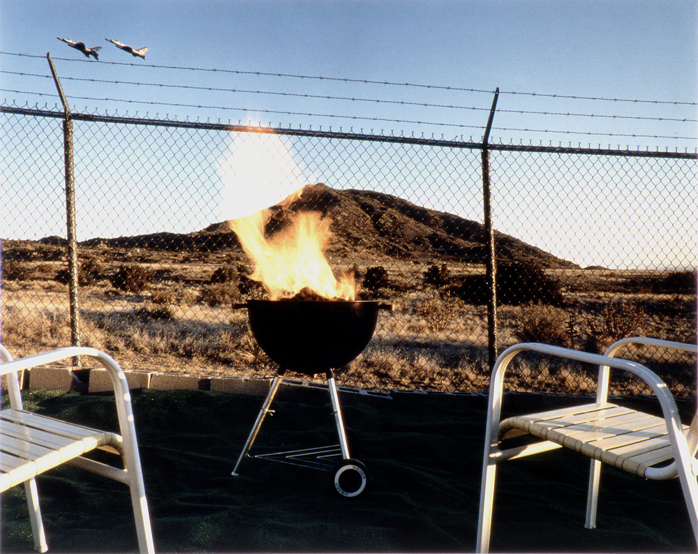 F-16 Falcons (U.S.A.F. Thunderbird Team), Residential Backyard Facing Hollowed-out Manzano Mountain Nuclear Storage Area, Kirtland A.F.B., Albuquerque, New Mexico,1990 & 1993, Chromogenic print (Ilfocolor Deluxe), 17 X 22 and 27 1/4 X 36 1/4