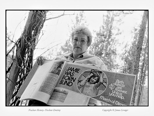 Brenda Weaver was raised on a farm near Mesa, Washington, directly across the Columbia River from the Hanford plutonium production reactors. She remembers that, in some years, many of the farm's livestock gave birth to defective offspring, and many animals had to be destroyed. Weaver's own daughter, Jamie, was born without eyes—a tragedy that also befell the daughter of a childhood friend. Both Brenda and her daughter suffer from from autoimmune ailments.