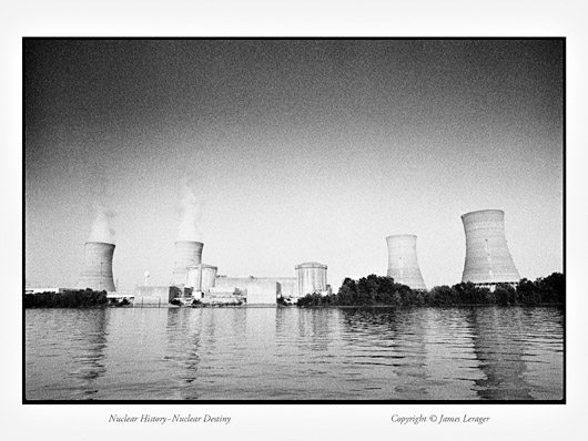 The reactors and cooling towers at Three Mile Island, Pennsylvania. Unit Two, the reactor that failed and melted down in 1979, is on the right. Removing the damaged nuclear fuel from Unit Two required almost 20 years, at a cost of some one billion dollars.
