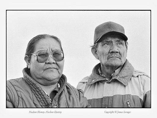 "Albert Johnson, a Navajo Indian and former uranium miner, and his wife, Rosemary. The Johnsons lived in Shiprock, New Mexico. Many of the men who worked the uranium mines of the Southwest, which provided raw materials for America's nuclear arsenal, were Native Americans—most of them Navajo. Johnson worked in uranium mines in Arizona and Colorado, primarily for Kerr-McGee, from 1950 to 1973. At age 38, Johnson's lungs were extensively scarred and he was ruled disabled due to silicosis. ""I traveled with my husband to the different mines,"" says Rosemary. ""There was no fresh water—we drank out of the mine and bathed in that water. We lost a little boy at age four to leukemia. He played in the mine tailings."" They had two other children, also born at the mines, who are severely mentally retarded. Their other eight children were healthy. Rosemary had six close friends from the mining days whose husbands died from lung and stomach cancers."