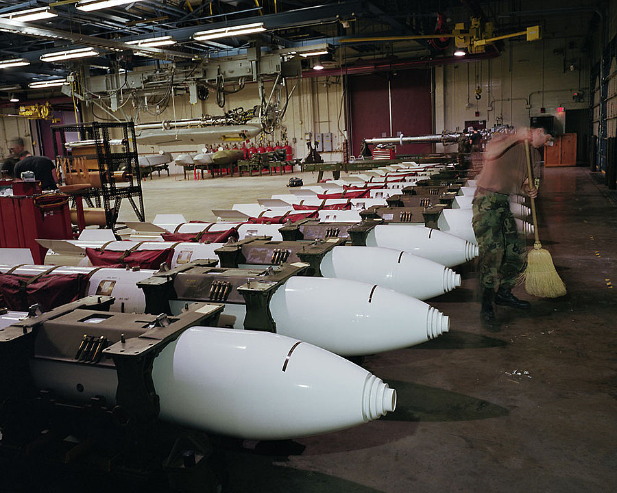B83 1-megaton nuclear gravity bombs in Weapons Storage Area, Barksdale Air Force Base, Louisiana, 1995